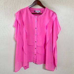 JLo NWT Riviera Chic Hibiscus Pink Blouse Size Lg